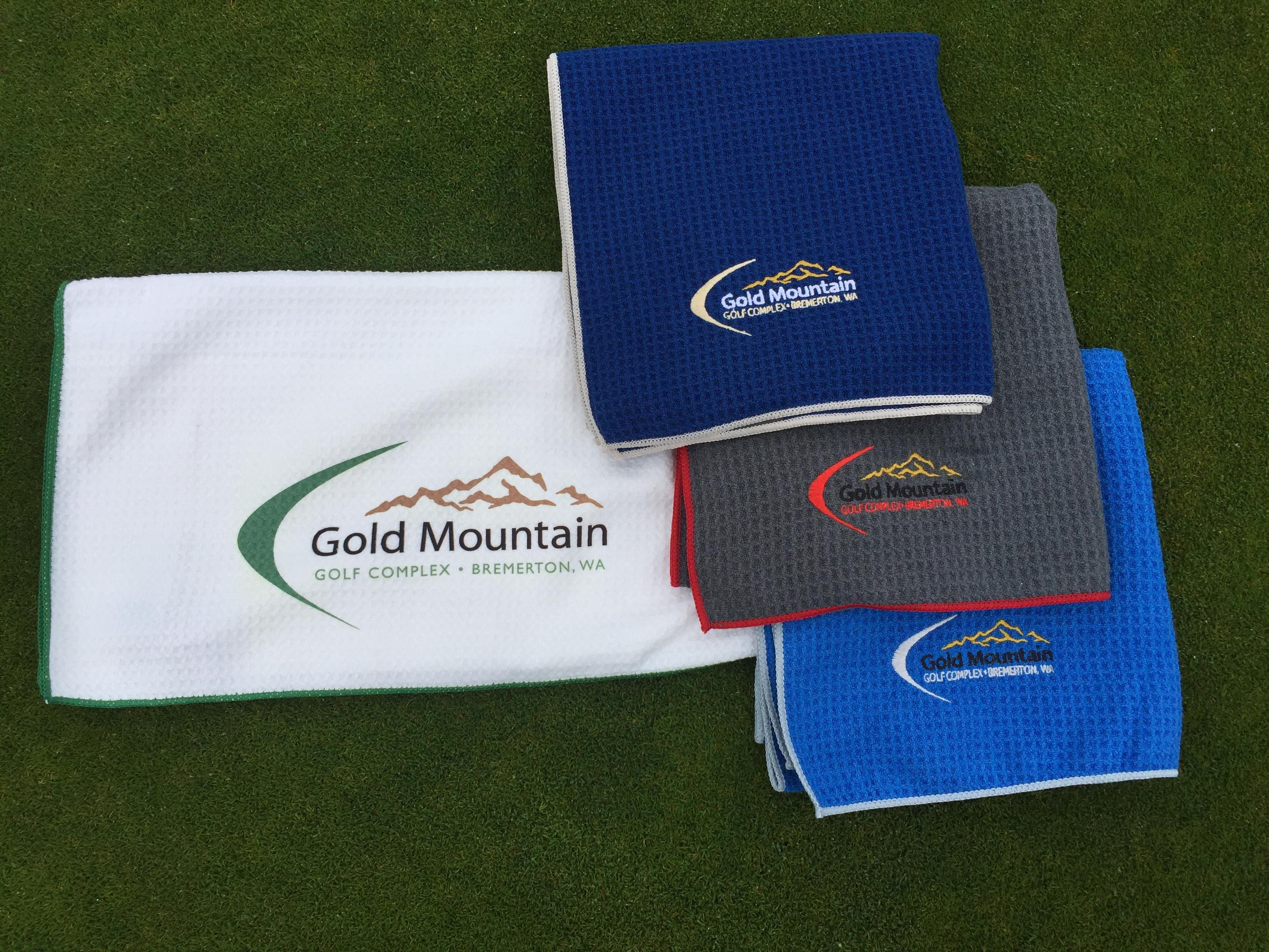 Logo Microfiber Golf Towel Gold
